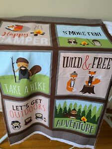 Campsite Critters Andie Hanna For Robert Kaufman Cotton Fabric Panel 24 X 44