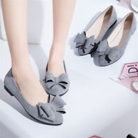 Women Flat Bowknot Pumps Slip On Loafers Pointed Closed Toe Casual Boat Shoes