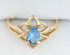 Anillos de joyería con gemas azul de oro amarillo de 14 quilates