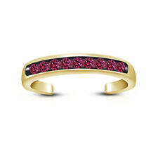 Women's 14K Yellow Gold Over Toe Ring Round Cut Pink Sapphire Jewelry Adjustable