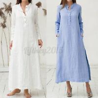 US STOCK Womens Shirt Dress Elegant Tunic Dress Party Long Maxi Cotton Sundress