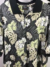 IZOD Golf Elite Cool-FX Black Floral Polo Sz L Large Hawaiian Aloha Shirt