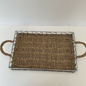 Retro Hand Woven String/Rope and Metal Serving Tray.19 1/2 x 9 1/2 inches.