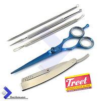 Barber Hair Cutting Scissor Hair Shaving Folding Knife Comedone Extractors Tools