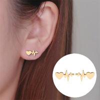 Doctor Heart Electrocardiogram Stud Earrings Heart Beat Earring Nurse Jewelry