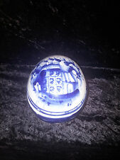 RUSSIAN GZHEL PORCELAIN BLUE AND WHITE EGG WITH RUSSIAN CHURCH IMAGE