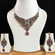 Indio Rojo Verde Oro Turca Mughal Bisutería Collar Aretes Set Nuevo
