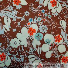 BonEful Fabric FQ Cotton Quilt VTG Brown Blue Flower Cottage Shabby Chic Hippie