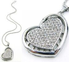 Set XXL Lang Kette + Anhänger Herz Halskette Strass Silber 178