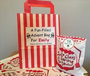 Personalised Advent Calendar Bag, Plus 24 Paper Bags & 24 Christmas Stickers