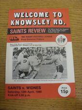 12/04/1980 programma Rugby League: ST. Helens V Widnes (Team delle modifiche, LEGGERA PIEGA