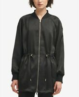 DKNY Womens Long Bomber Jacket Black Size Small