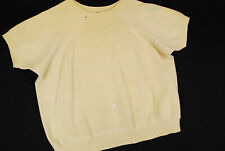 Vintage 60s Short Sleeve Sweatshirt Crewneck Gym Workout Hipster Beige Mens