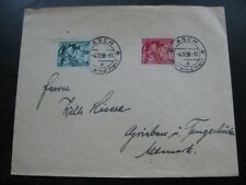 """THIRD REICH 1938 Sudetenland stamp set on cover w/ """"Asch is Free"""" cancel!"""