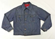 Vintage Roebucks Sears Selvedge Denim Trucker Jean Jacket Size 42 Red Lined