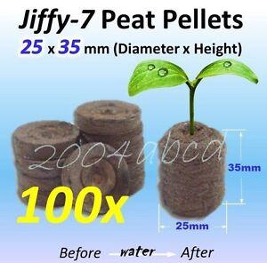 ( 100 x )  25 x 35 mm Jiffy 7  Peat Pellets Seed Start Starting Hydroponic plug