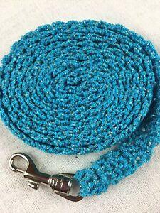 DOG LEASH 636 Turquoise METALLIC crochet cord 5 foot w/ metal swivel bolt snap