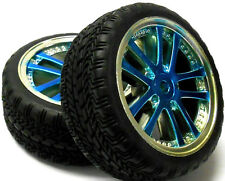 A250089 1/10 On Road Soft Road Tread Car Wheels and Tyres 10 Spoke Light Blue 4