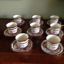 Cumbow Louis XV Cup and Saucer Set of Eight Pink Flowers, Copper Laurel & Band