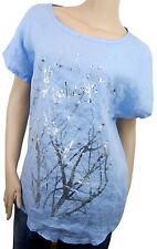 Blusenshirt 40 42 44 blau silber Perlen Shirt Leinenbluse Made in Italy new in