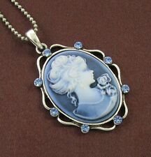 Antique VTG Style Blue Sapphire Rhinestone Design Cameo Necklace Chain Pendant b
