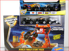 LOT 2 - Hot Wheels MONSTER Jam WORLD STUNT FINALS Race Set + 7 Monster Truck