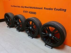"""Genuine BMW 3/4 Series 19"""" 442M  Alloy wheels gloss black Immaculate condition"""