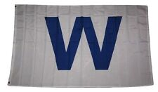 "3x5 Chicago Cubs Win "" W "" Blue Rough Tex Knitted Flag 3'x5' Banner"