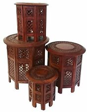 """Round Brown White Hand Carved Indian SHESHAM Wooden Coffee Table Side MAGHONY Extra Large 21""""x21""""x21"""""""