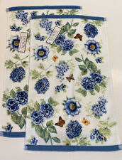 Lenox Butterfly Meadow Small Hand Towels Washcloth Blue Floral, Set Of 2 New
