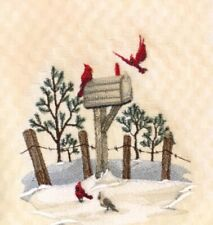 Red Cardinal Birds Winter Embroidered Ivory Cream Kitchen Terry Dish Hand Towel