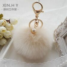 Beige Rabbit Fur Pendant Charm Key Car Keychain Ball PomPom Handbag CellPhone