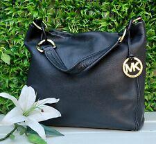 Michael Kors med Oversized ID Chain hobo Shoulder Bag Leather purse handbag EUC
