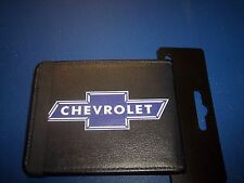 "Mens Black Bi-Fold Wallet with"" Chevrolet""  Written on it, 4"" x 3-1/2"" Leather"