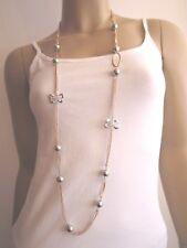 Damen Hals Kette Modekette Modeschmuck Bettelkette Lang Strass Tricolor Perlen