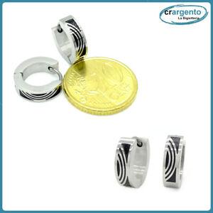 orecchini da uomo a cerchio colore argento in acciaio inox piccoli tema tribale