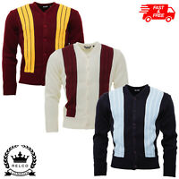 Relco Mens Knitted Two Tone Striped Cardigan in 3 Colours Retro Mod Vintage NEW