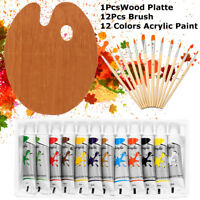 12 ACRYLIC COLOR Artist Painting Paint Set + 12 Brush Set with Wood Palette