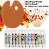 12 ACRYLIC COLOR Artist Painting Paint Set + 12 Brush Set with Wood Palette