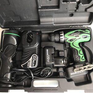 "Hitachi DS 12DVF3 12V 3/8"" Cordless Drill w/ Case, 2 Batteries, Charger & Light"