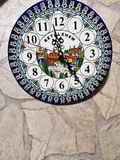 lovely Decor Ceramic Plate Clock handmade design Bethlehem Battery Operated wall