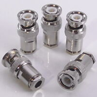 5pcs BNC Male Clamp Clamp Plug, 50Ω for RG58 RG223 LMR195 RG400, 50 Ohm, Top Hat