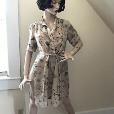 Vintage 1970's Phase One Fashions Tan Wild Flowers Belted Dress Size L