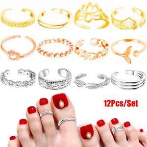 12PCs/set Adjustable Jewelry Retro Open Toe Ring Finger Foot Rings New