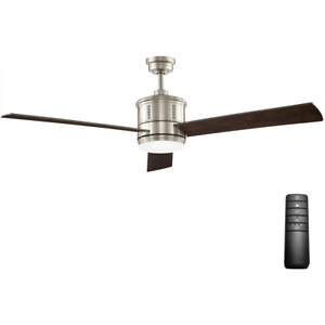 Gamali 60 in. LED Indoor Brushed Nickel Ceiling Fan with Light Remote Control