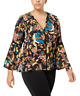 New INC. Womens Size L Black Floral Bell Sleeve V-Neck Peasant Top