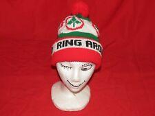 "g6 Vintage Red Green & White Farm ""Ring Around"" Pom Beanie Knit Cap"