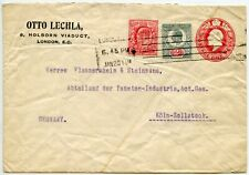 GB KE7th STATIONERY ENVELOPE Uprated 2d 1/2d OTTO LECHLER PERFIN to GERMANY 1911