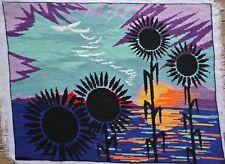 Vintage SEG Black Sunflowers Psychedelic Sunset Needlepoint Tapestry Ethnic