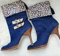 EVISU Boots Ladies Denim Blue & Logo Monogram Heel Ankle Booties UK 4 EU 37